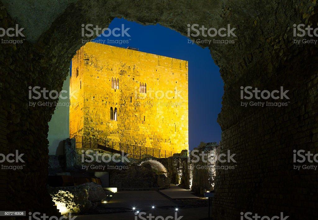Torre del Pretorio romana from Roman circus in Tarragona stock photo