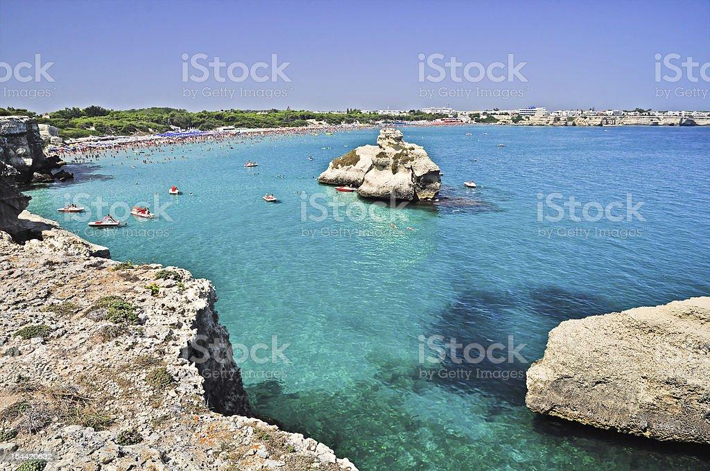 Torre dell'Orso beach in Apulia, Italy. stock photo