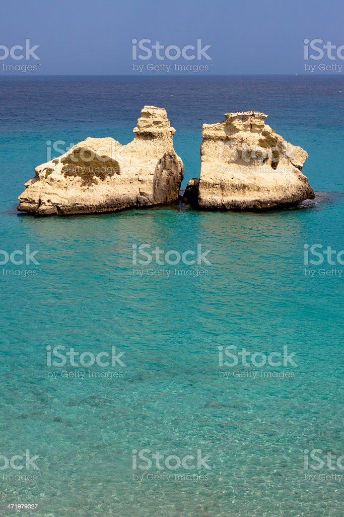 Torre dell'Orso, Otranto - Mediterranean Sea, Puglia, Italy stock photo