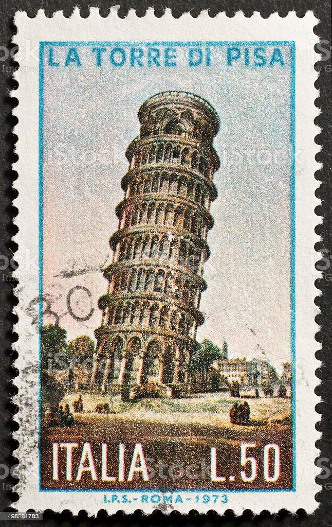 Torre di Pisa postage stamp stock photo