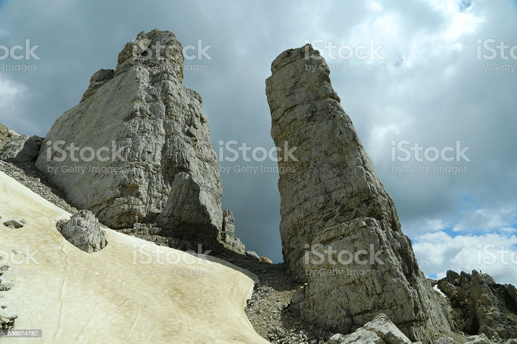 'Torre di Pisa' (Pisa tower) steeple, in the Latemar group stock photo