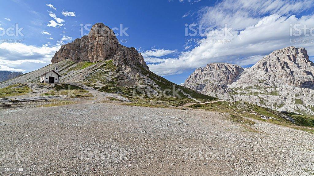 Torre di Toblin nelle Dolomiti di Sesto stock photo