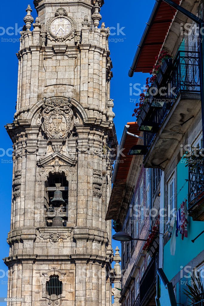 Torre dos Clerigos detail in Porto stock photo