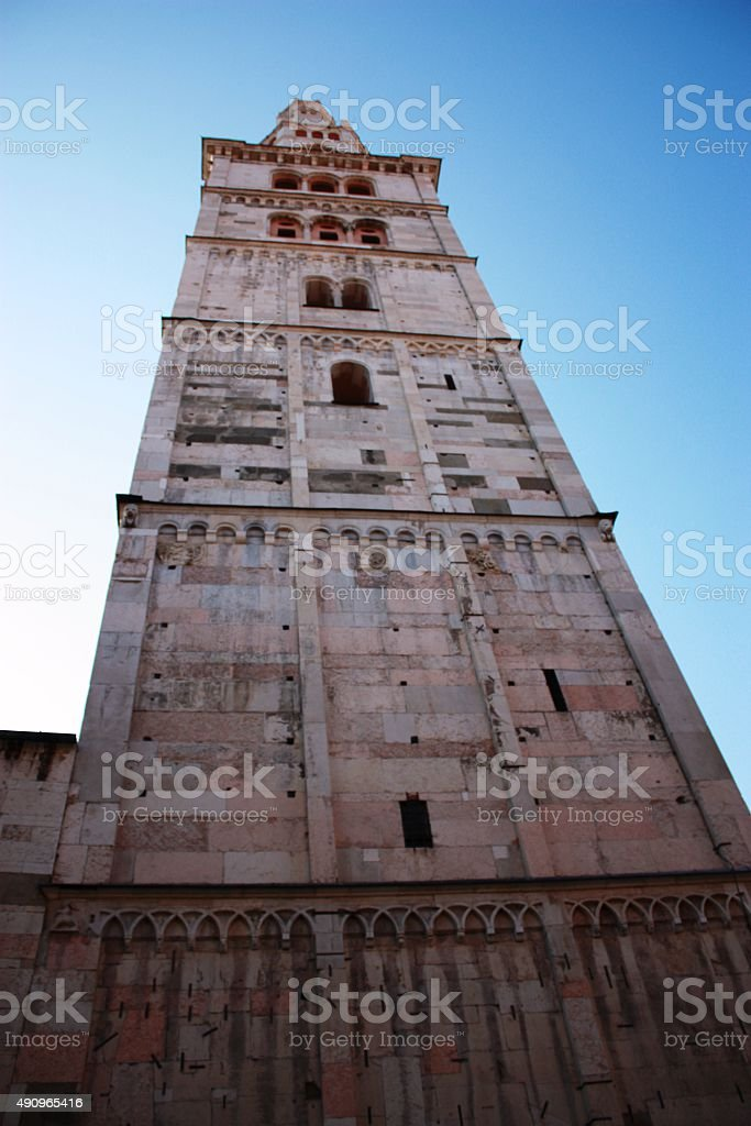 Torre Ghirlandina Cathedral of San Geminiano in Modena Italy stock photo