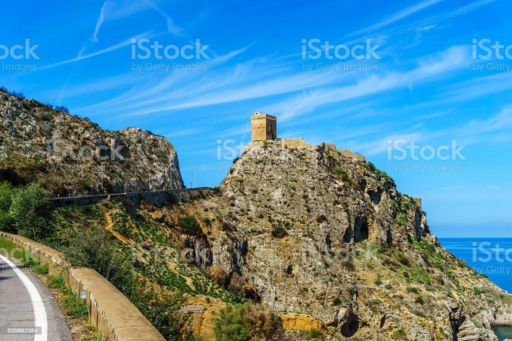 Torre Normanna close to village Torre Colonna-Sperone stock photo