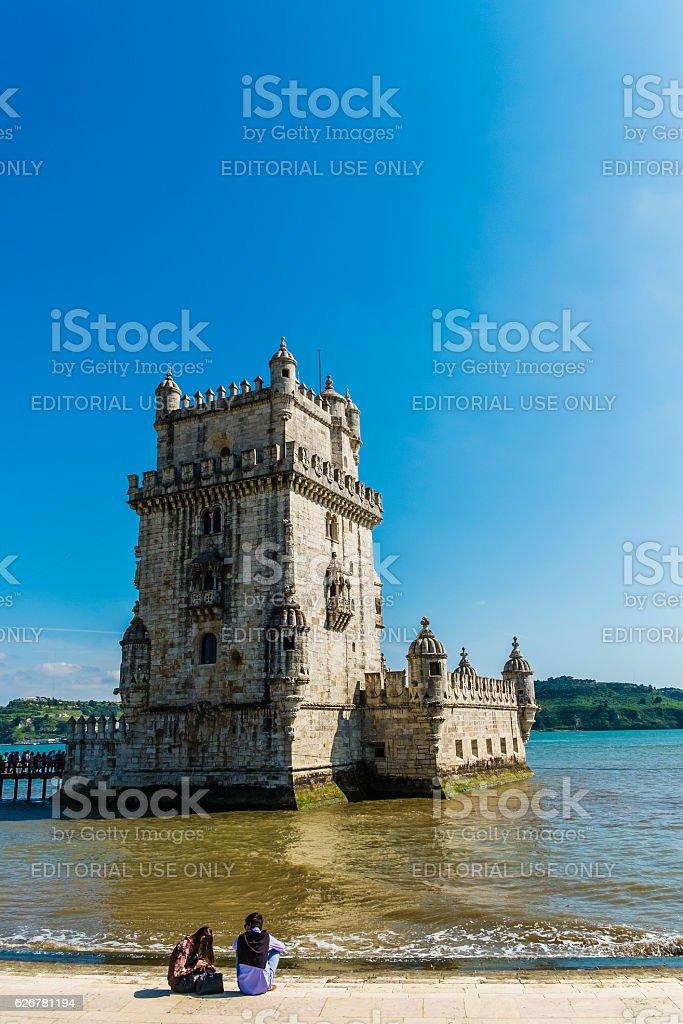 Torre of Belem at sunset, famouse landmark of Lisbon, Portugal, stock photo