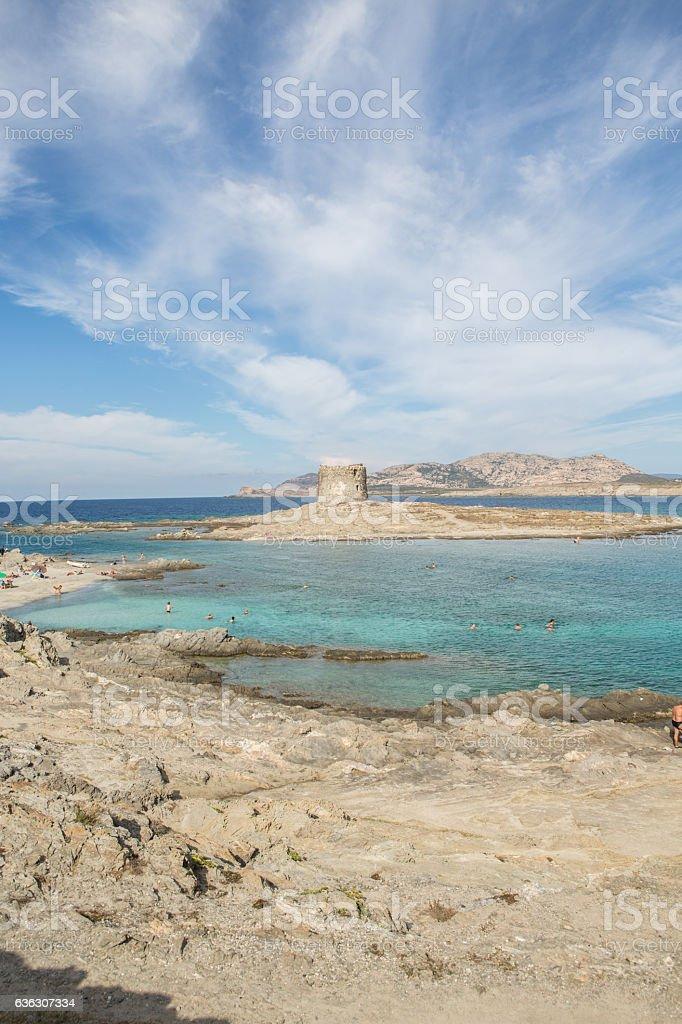 Torre Pelosa in Sardinia, Italy stock photo