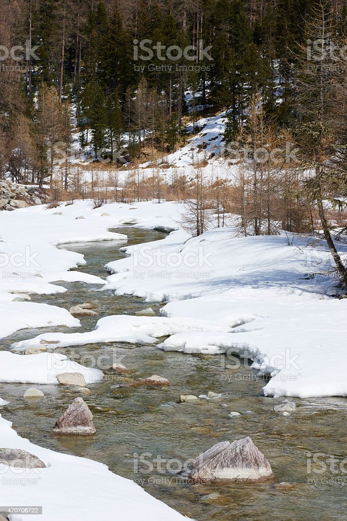 Torrent with Snow stock photo