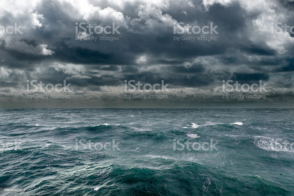 Torrential storm bearing down on coast stock photo