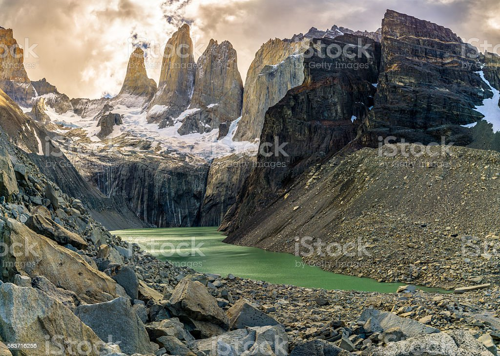 Torres del Pain in Chilean Patagonia stock photo