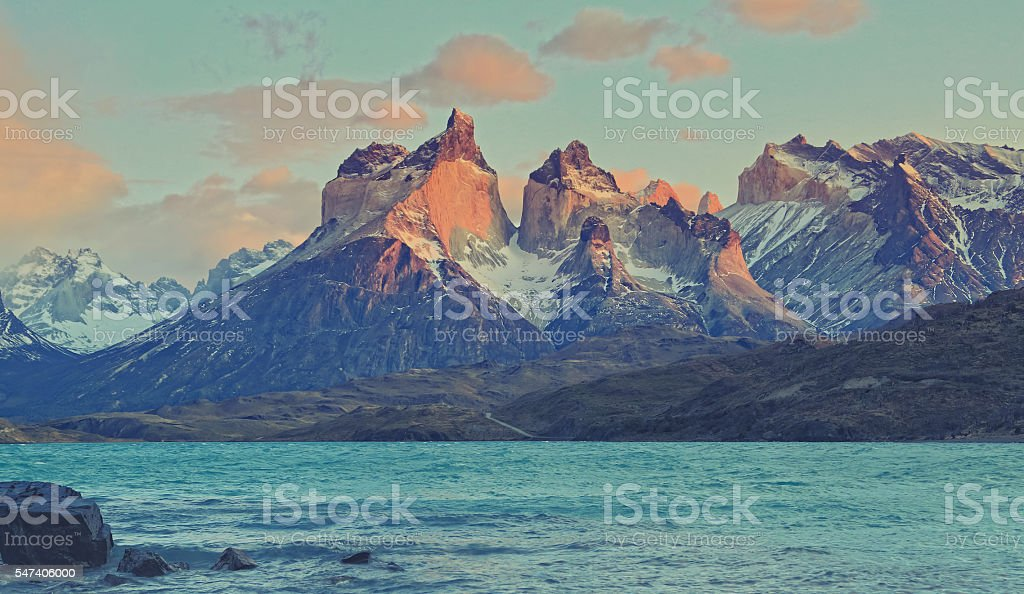 Torres del Paine at dawn stock photo