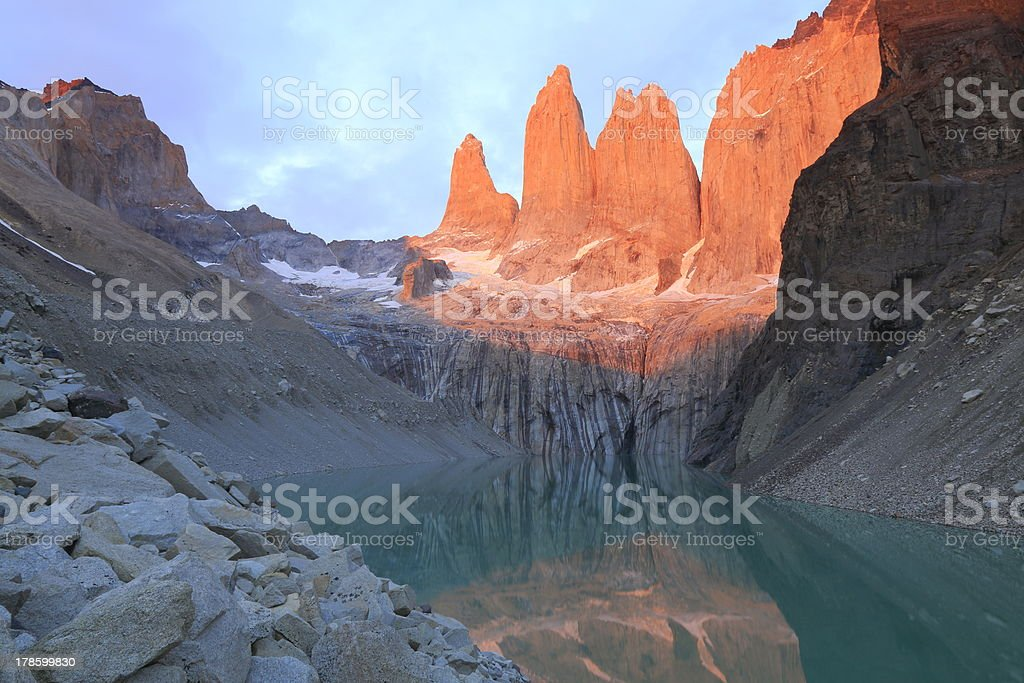 Torres Del Paine at sunrise and reflection lake, Patagonia royalty-free stock photo