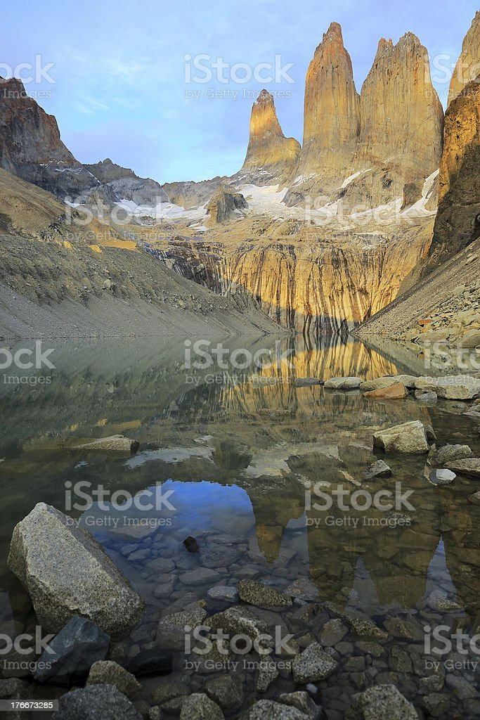 Torres del Paine at sunrise - Patagonia, South America royalty-free stock photo