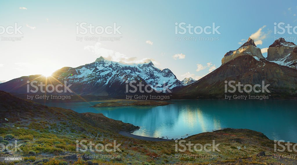 Torres del Paine at sunset stock photo