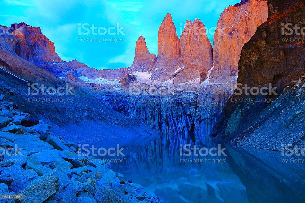 Torres Del Paine Granites, bright dramatic golden dawn, Chilean Patagonia stock photo