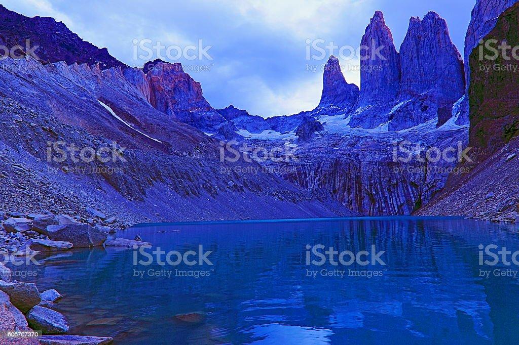 Torres Del Paine granites, mirrored lake, Chilean majestic Patagonia landscape stock photo