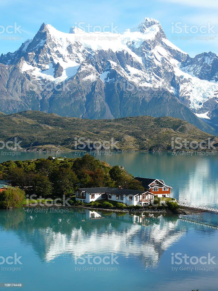 Torres del Paine Lake Pehoe stock photo