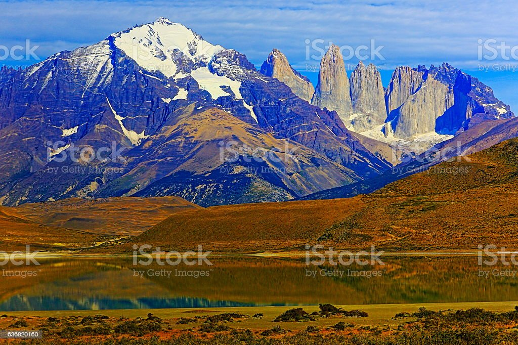 Torres Del Paine landscape, mountains, mirrored pehoe lake, Patagonia stock photo