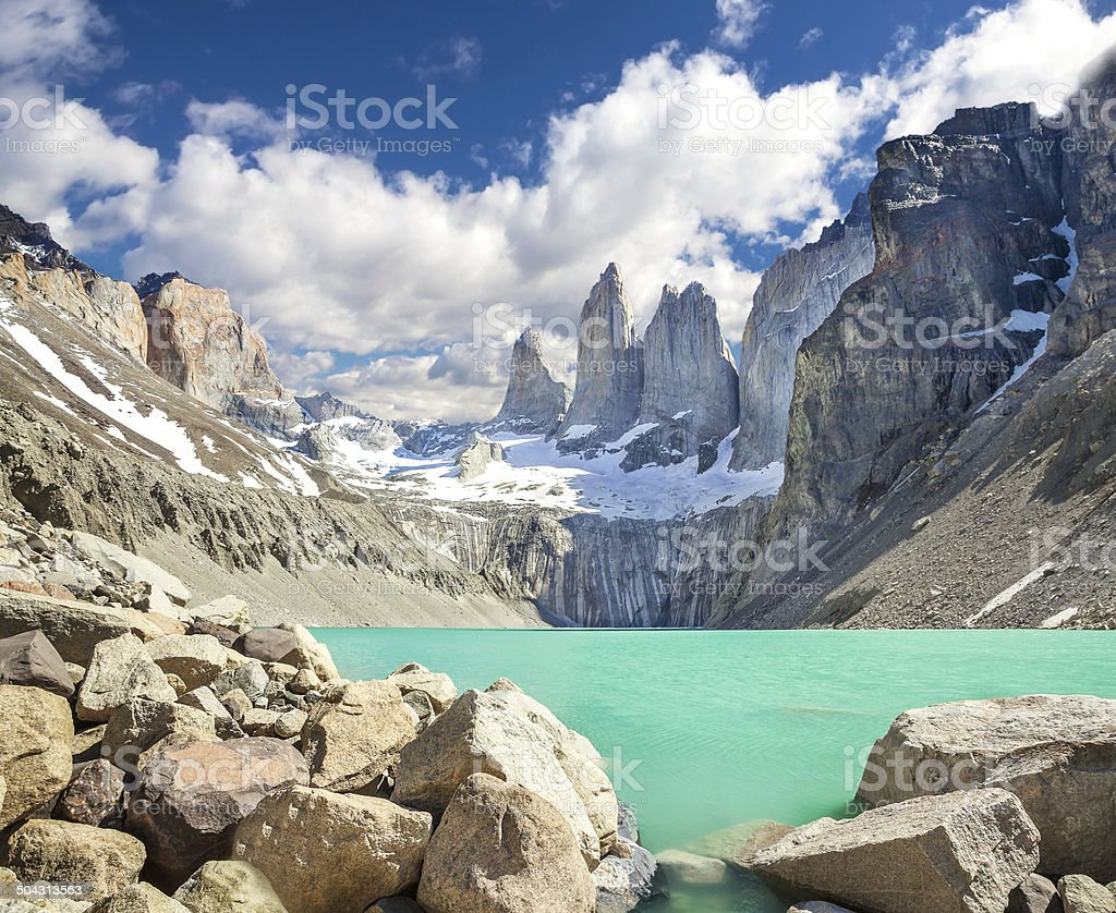 Torres del Paine mounatains, Patagonia, Chile stock photo