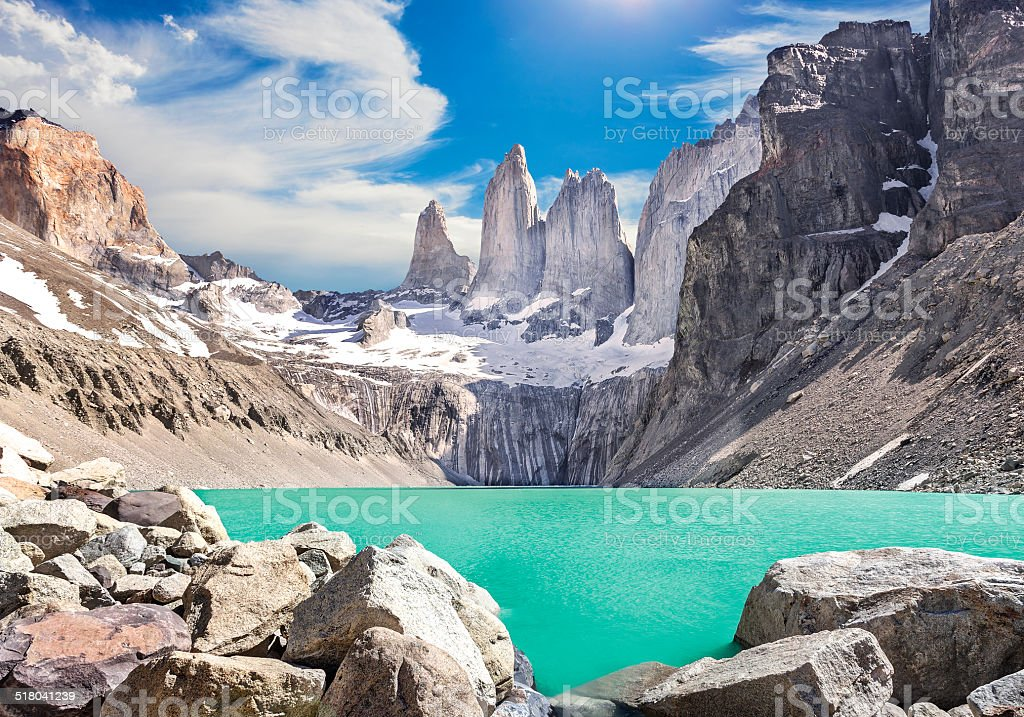 Torres del Paine mountains, Patagonia, Chile stock photo