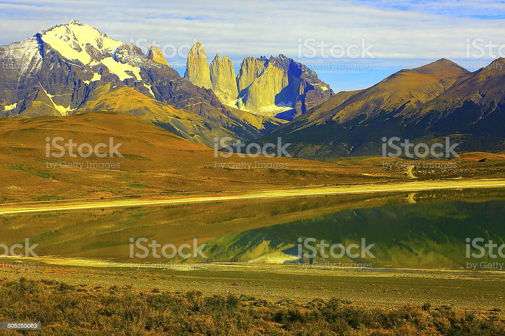 Torres del Paine National Park and lake refletion, Patagonia, Chile stock photo
