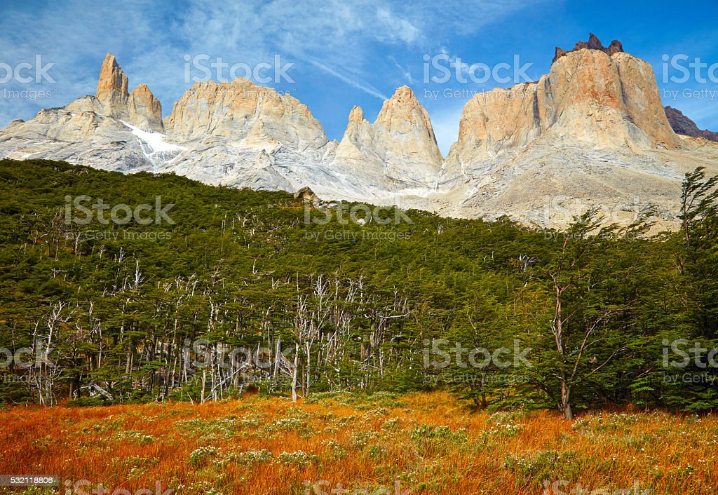Torres del Paine national park.  Patagonia, Chile stock photo