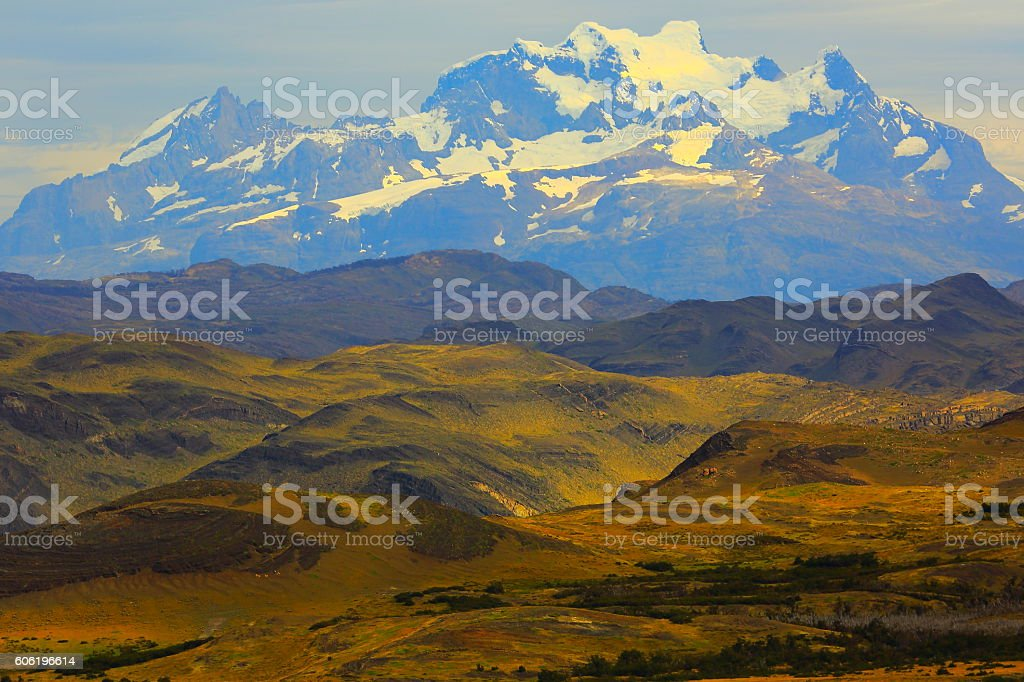 Torres Del Paine over steppe, Chilean majestic Patagonia landscape stock photo