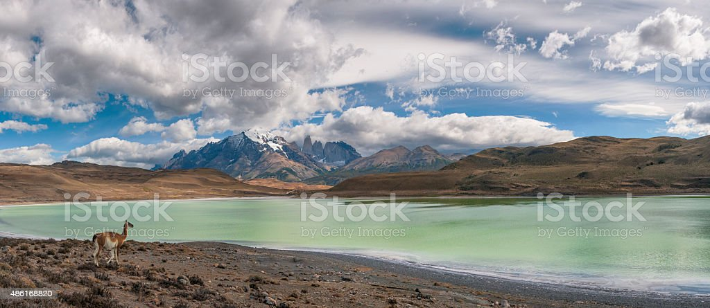 Torres Del Paine Panorama, Patagonia, Chile stock photo