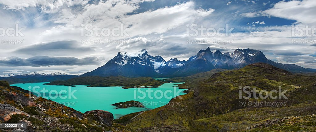 Torres del Paine Panorama stock photo