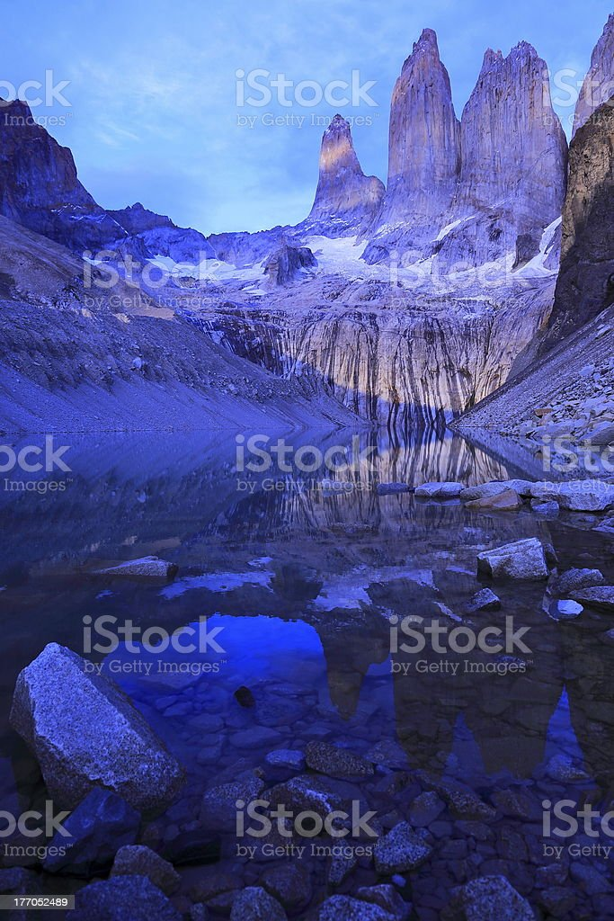 Torres Del Paine peaks alps placid  - Patagonia, South America royalty-free stock photo