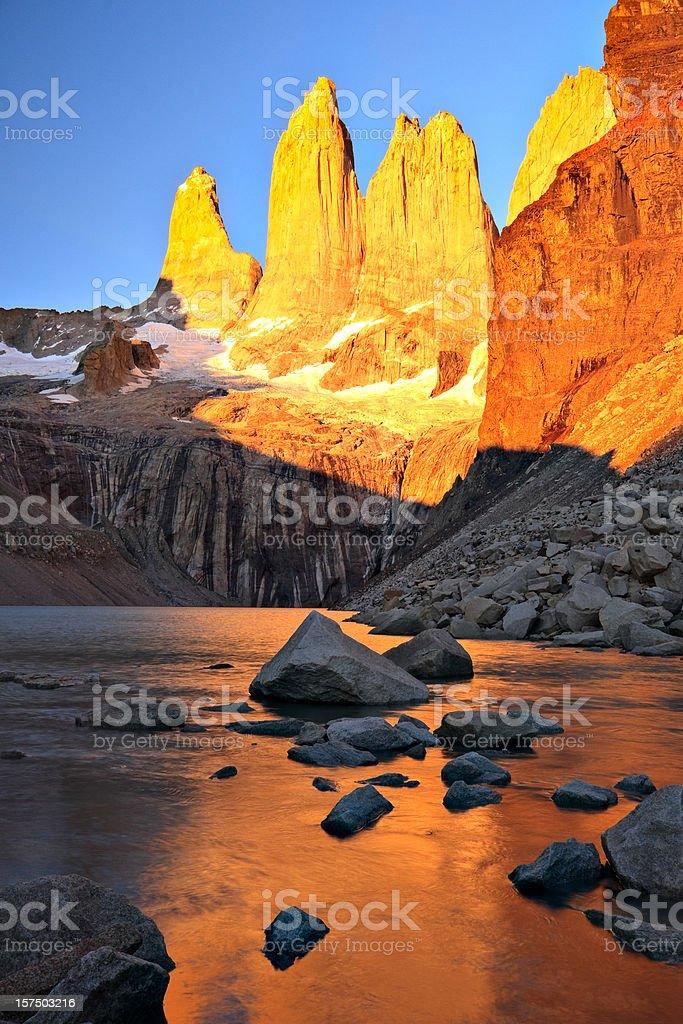 Torres del Paine Peaks at Sunrise stock photo
