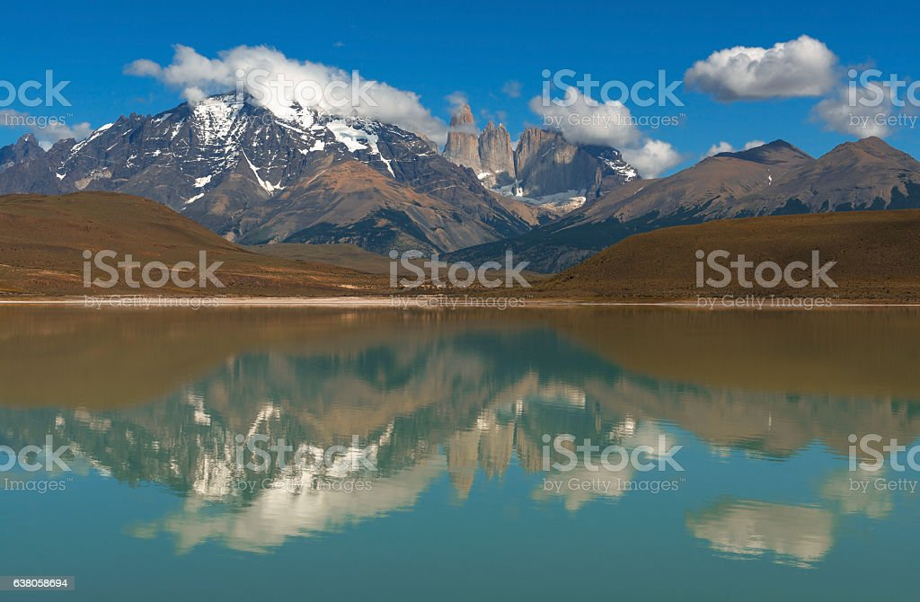 Torres del Paine Reflection stock photo