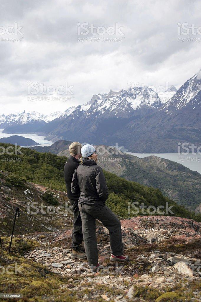 torres del paine trekking couple royalty-free stock photo