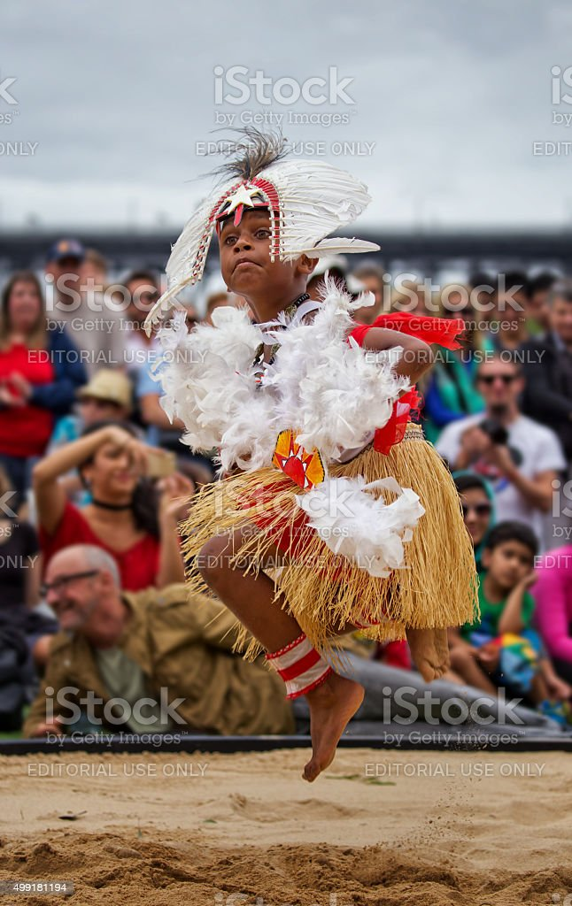 Torres Strait boy dancing at Homeground indigenous Festival in Sydney stock photo