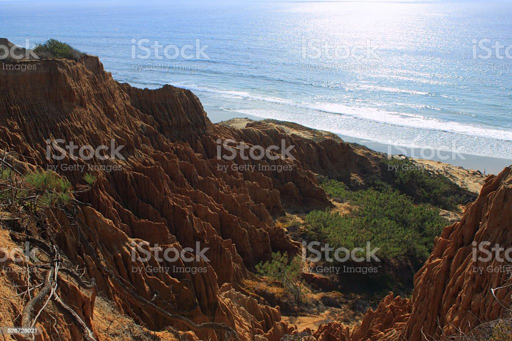 Torrey Pines State Reserve Badlands and ocean sunset stock photo