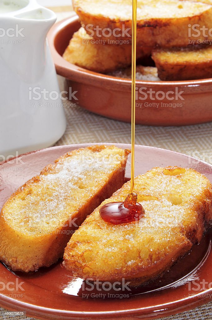 torrijas, typical spanish dessert for Lent and Easter stock photo