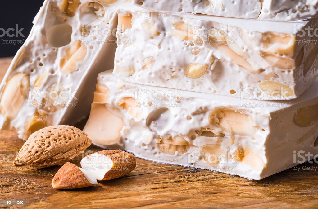 Torrone or nougat with nuts. stock photo