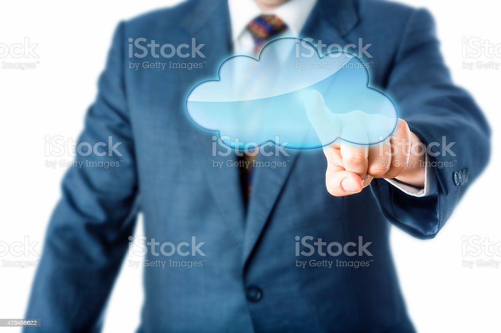 Torso Of Business Person Touching Blank Cloud Icon stock photo