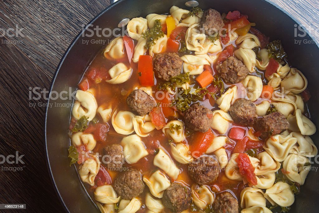 Tortellini Meat Ball Italian Soup stock photo