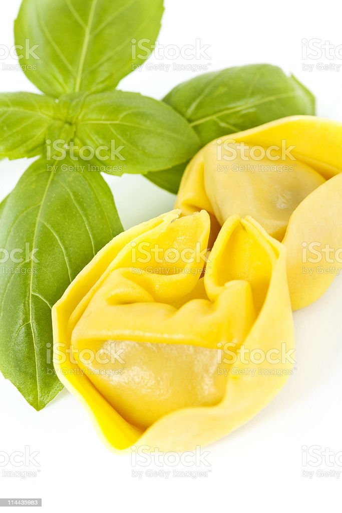 Tortellini with Basil royalty-free stock photo
