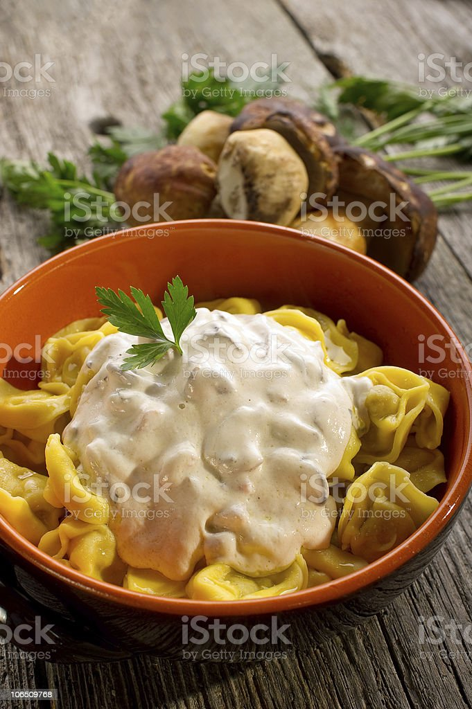 tortellini with cream sauce royalty-free stock photo