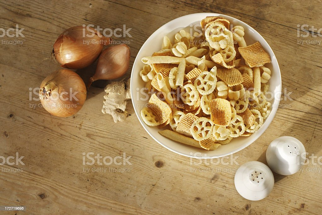 'Tortilla chips, crisps and cheese puffs' stock photo