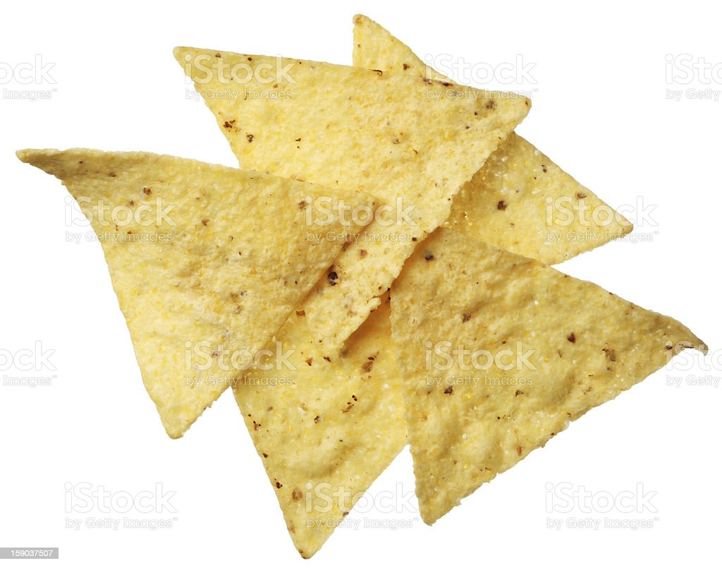 Tortilla chips isolated on white background stock photo