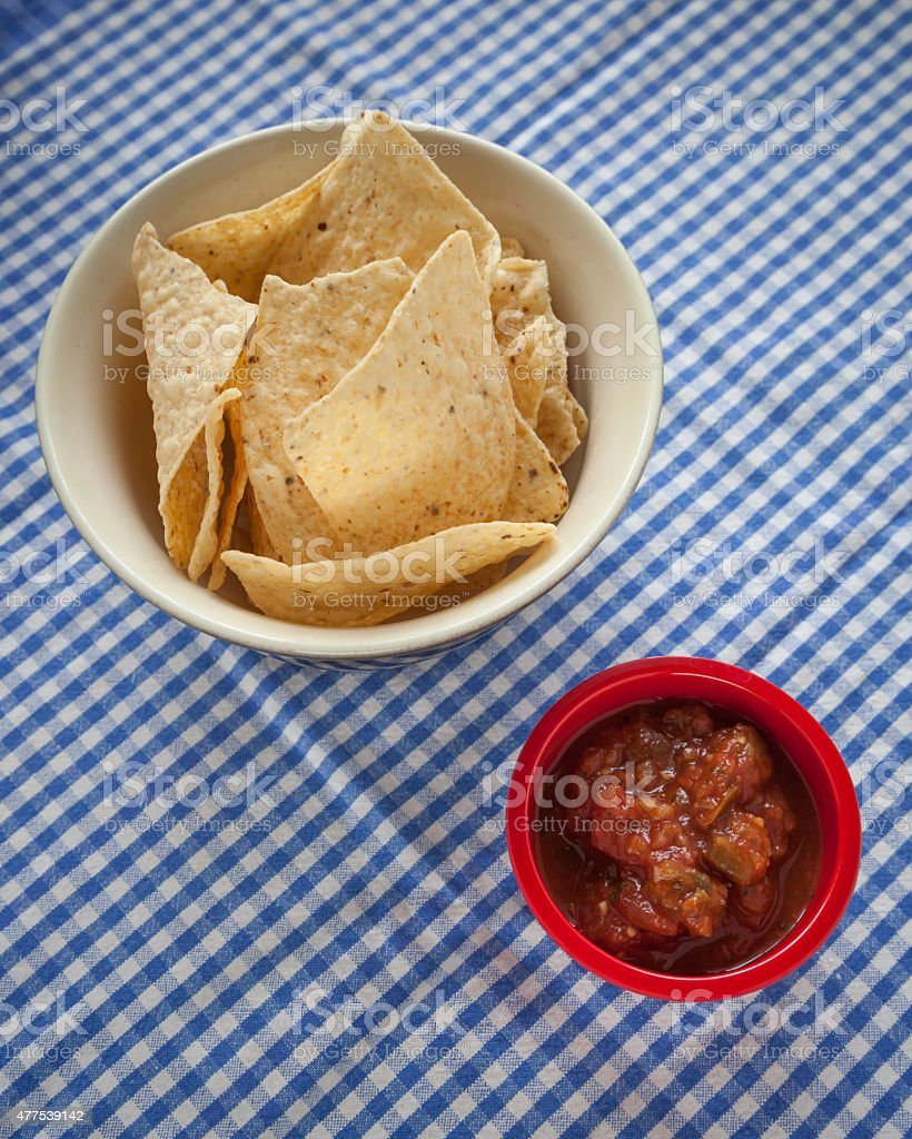 Tortilla Chips with a Side of Salsa stock photo
