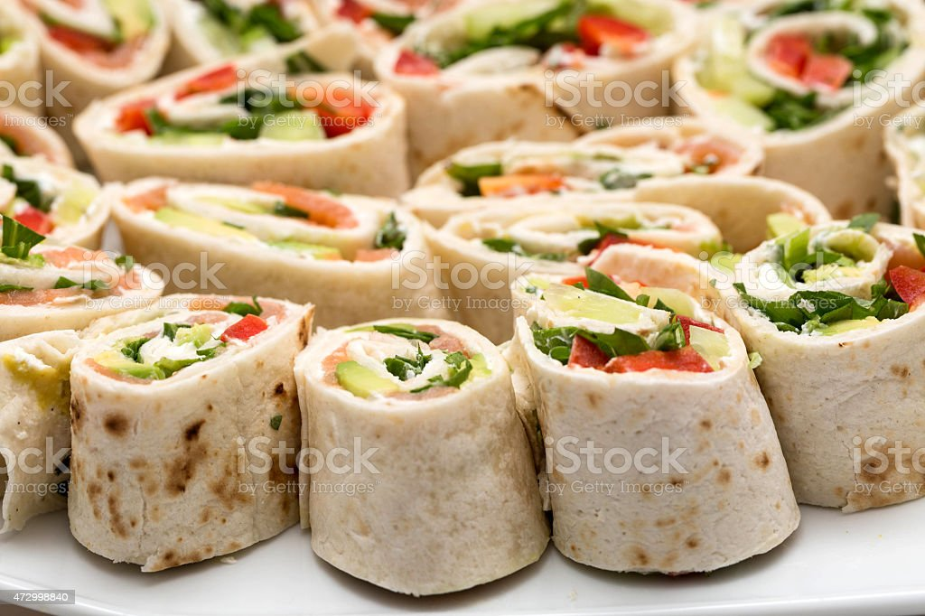 tortilla pieces close up with fuzzy depth of field stock photo
