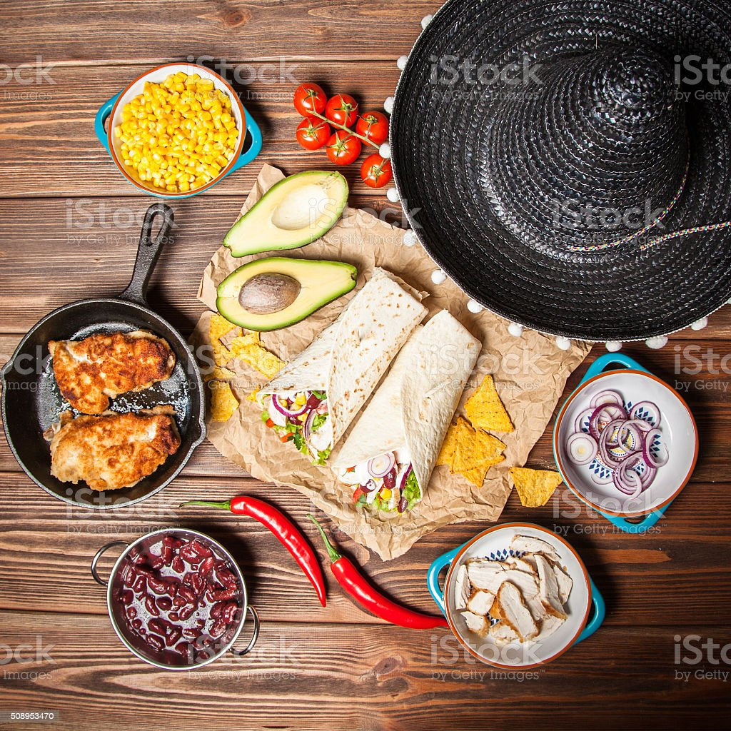 Tortilla with a mix of ingredients stock photo