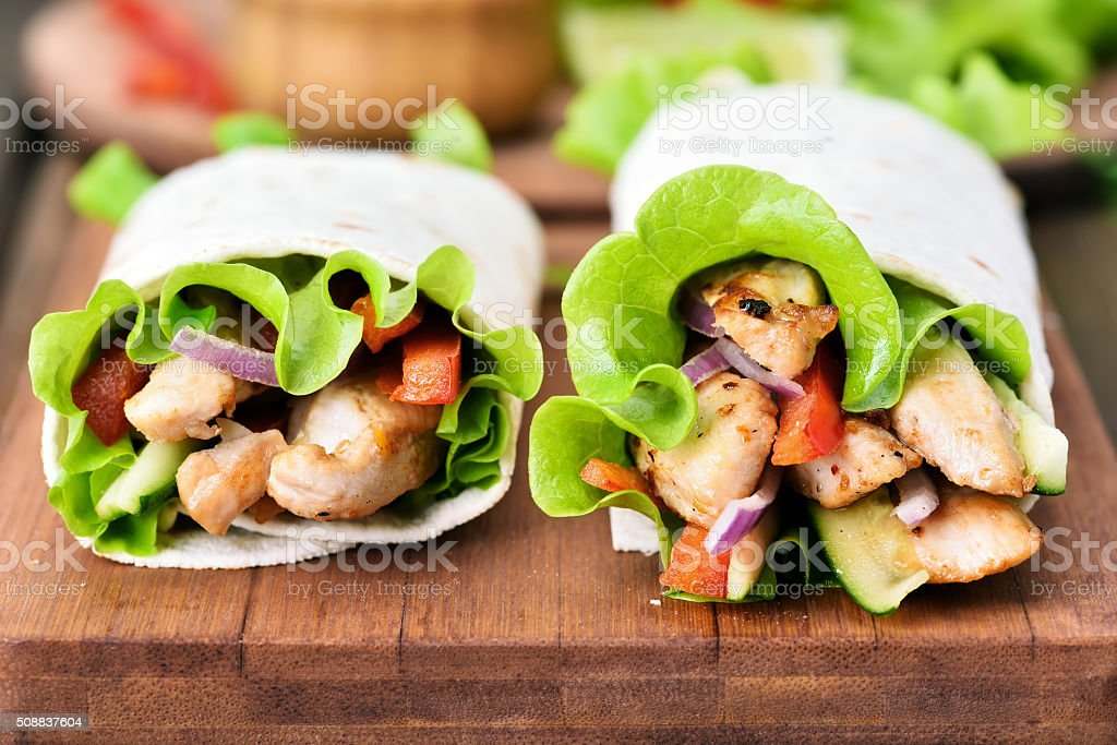 Tortilla wraps, close up view stock photo