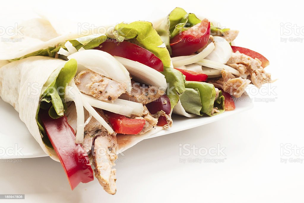 Tortilla wraps with meat and vegetables stock photo