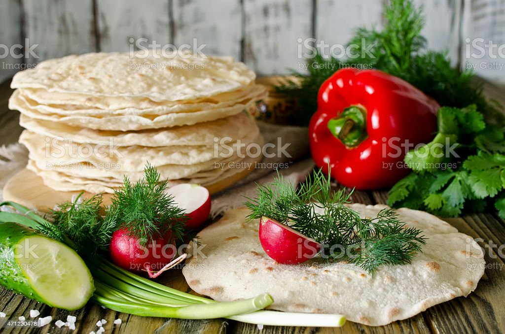 Tortilla wraps with vegetables stock photo