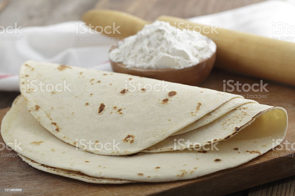 Tortillas folded on their sides stock photo